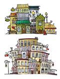 卡通小镇房子