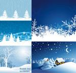 圣诞节雪景矢量