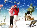 雪花飘絮圣诞节