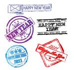 新年邮戳矢量