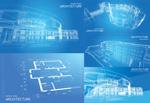 蓝色立体线稿图