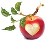 刻有心形的苹果
