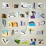 撕痕拼纸字母01