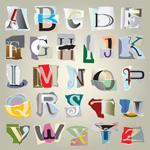 撕痕拼纸字母02