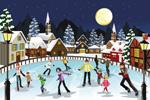 圣诞溜冰情景