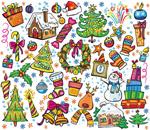 彩绘圣诞节元素