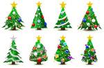 绚丽圣诞树矢量