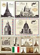 复古旅行邮票