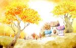 秋天插画风景