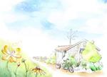 乡村农庄速写风景