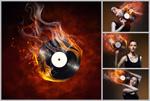女孩与音乐光碟