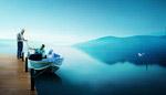 湖畔垂钓风景PSD