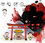 日本卡通建筑人物