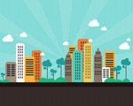 卡通城市背景图