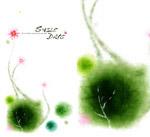 花朵墨染效果图案