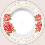 玫瑰底纹白瓷盘