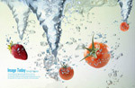 水花水果夏季海报