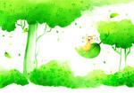 绿色卡通儿童