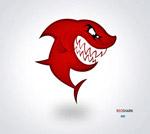 卡通红色大鲨鱼