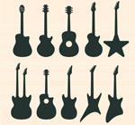 吉他剪影矢量