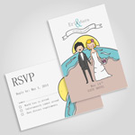 彩绘婚礼卡片矢量素材