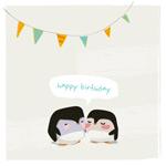 卡通企鹅生日背景