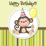 卡通猴子生日贺卡