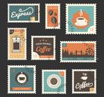 复古咖啡邮票