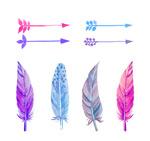 水彩箭头和羽毛