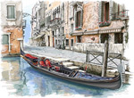 水彩绘水上城市