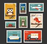 旅行与动物邮票