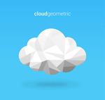 几何形白色云朵