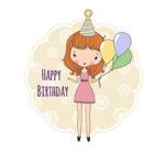 卡通女孩生日贺卡