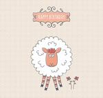 彩绘绵羊生日贺卡