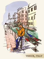 彩绘威尼斯风景