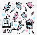 水彩小鸟和鸟笼