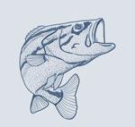 蓝色手绘鱼矢量