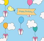 气球礼盒生日贺卡