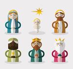 耶稣诞生角色矢量