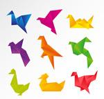 彩色折纸鸽子矢量