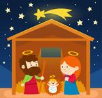 卡通耶稣诞生插画