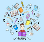 阅读的卡通男子