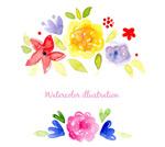 清新水彩花卉矢量