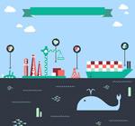 海洋开发插画矢量