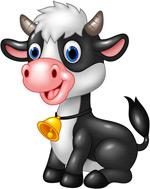 卡通黑白奶牛矢量