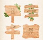水彩绘木牌矢量