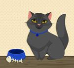 宠物猫和鱼骨头
