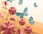 水晶蝴蝶和花丛