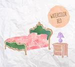 水彩绘床和床头柜