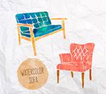 水彩绘沙发